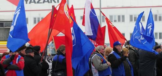 odborári areál firma Yazaki protestné zhromaždenie